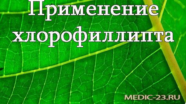 Хлорофиллипт: применение